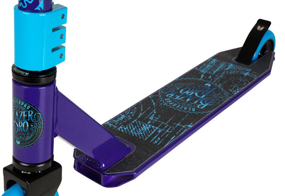 Blazer Pro Complete Scooter - Decay Series Purple Blue Clamp forks and bars