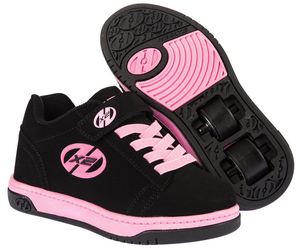 Heelys Dual Up Black Pink 2 Wheel Girls Shoe 770231
