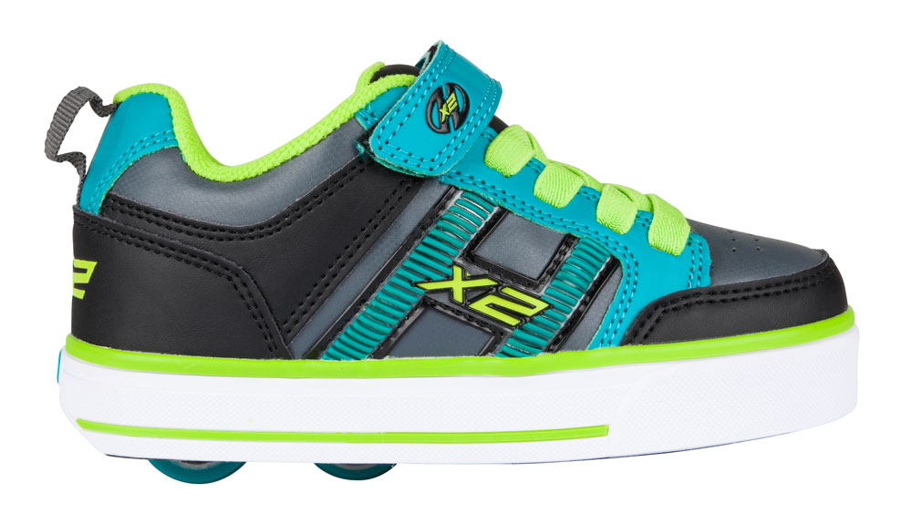 Heelys Bolt Plus Black teal Charcoal 2 Wheel Boys Shoe 770563