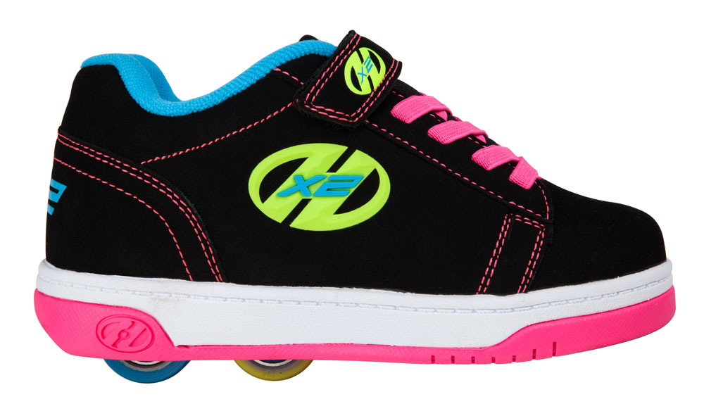 Heelys Dual Up Black Neon Mutli 2 Wheel Girls Shoe 770584