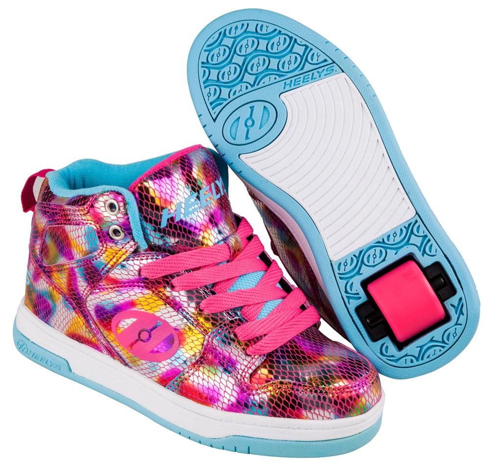 Heelys Flash 2.0 Snake Metallic Pink 1 Wheel Girls Shoe 770624