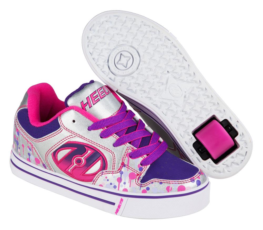 Heelys Motion Plus Silver Pink Purple Drip 1 Wheel Girls Shoe 770633