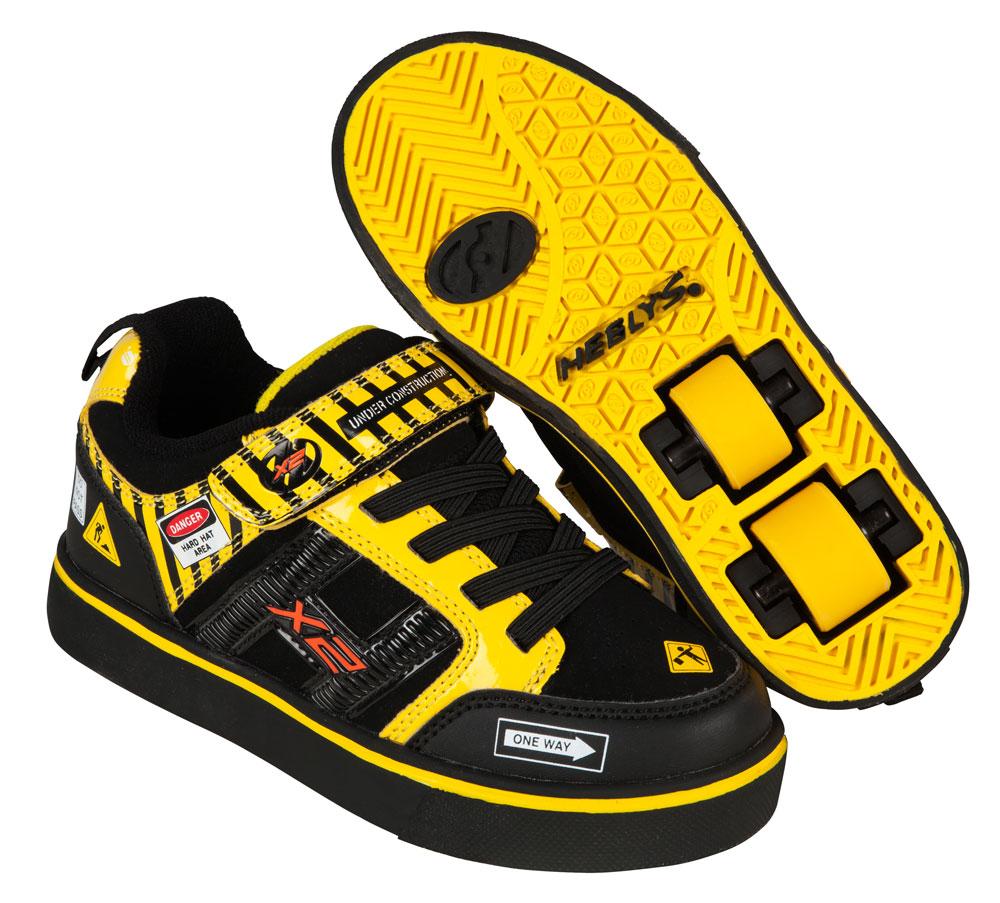 Heelys Bolt Plus Black Yellow Caution 2 Wheel Boys Shoe 770794