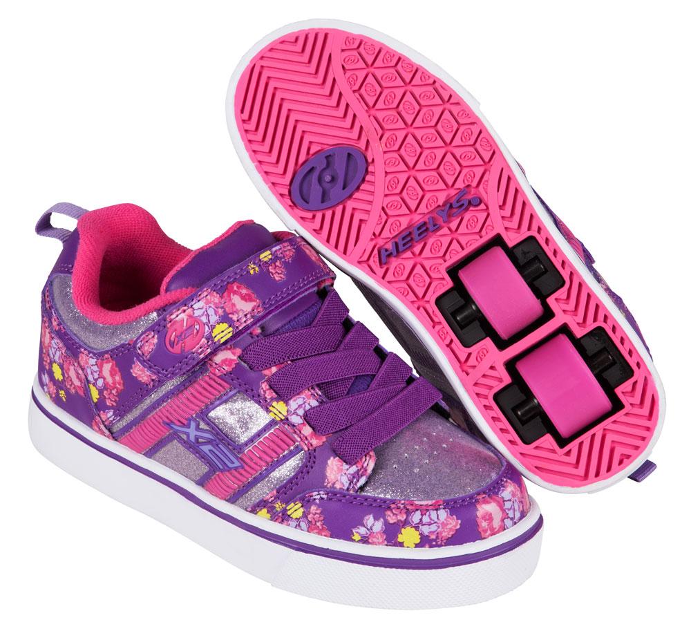 Heelys Bolt Plus Purple Pink Floral 2 Wheel Girls Shoe 770796