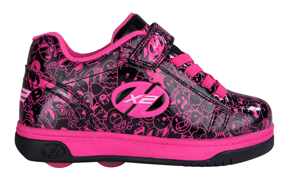 Heelys Dual Up Black Hot Pink Print 2 Wheel Girls Shoe 770801