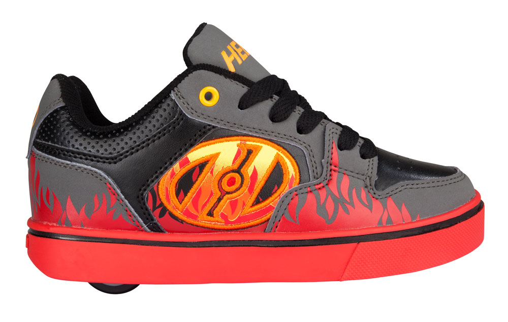 Heelys Motion Plus Grey Black Flames 1 Wheel Boys Shoe 770815