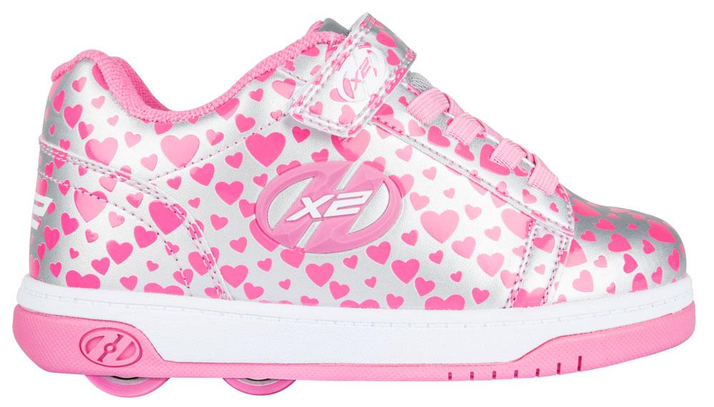 Heelys Dual Up Silver Hearts 2 Wheel Girls Shoe 778047