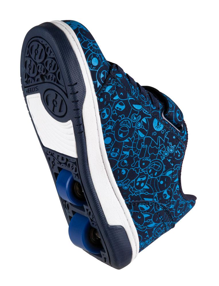 Heelys Dual Up Navy Blue Print 2 Wheel Boys Shoe 770800