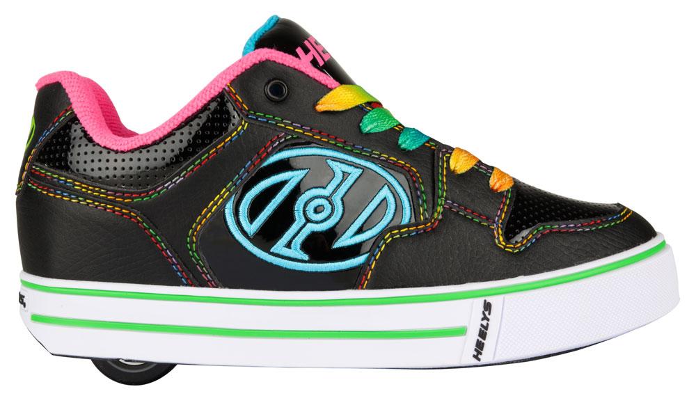 Heelys Motion Plus Black Hot Pink Rainbow 1 Wheel Girls Shoe 770539
