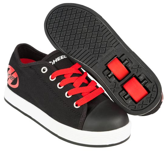 Heelys Fresh Black Red 2 Wheel Boys Shoe 770494