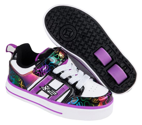 Heelys Bolt Plus White Black Rainbow 2 Wheel Girls Shoe 770571
