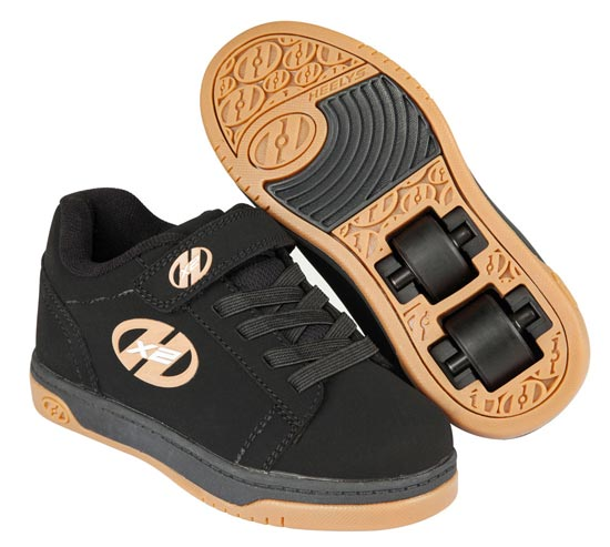 Heelys Dual Up Black Gum 2 Wheel Boys Shoe 770582