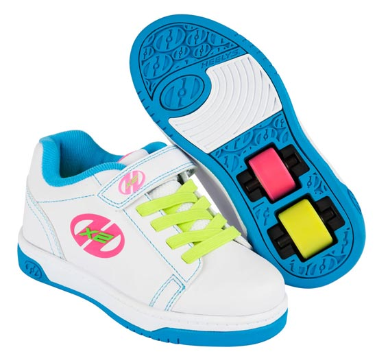 Heelys Dual Up White Neon Multi 2 Wheel Girls Shoe 770585