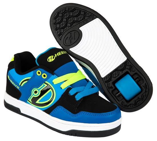 Heelys Flow Royal Black Lime 1 Wheel Boys Shoe 770608