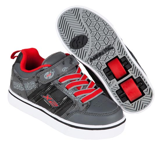 Heelys Bolt Plus Black Grey Red 2 Wheel Boys Shoe 770795