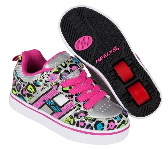 Heelys Bolt Plus Silver Mutli Cheetah 2 Wheel Girls Shoe 770797