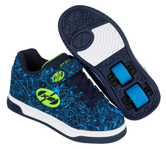 Heelys Dual Up Navy Blue Print 2 Wheel Boys Shoe 770800