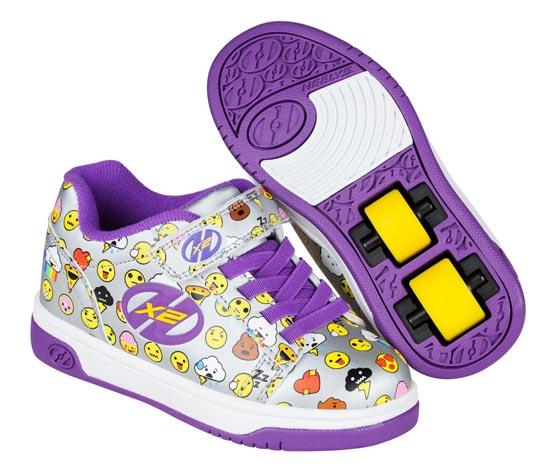 Heelys Dual Up Silver Purple Emoji 2 Wheel Girls Shoe 770802