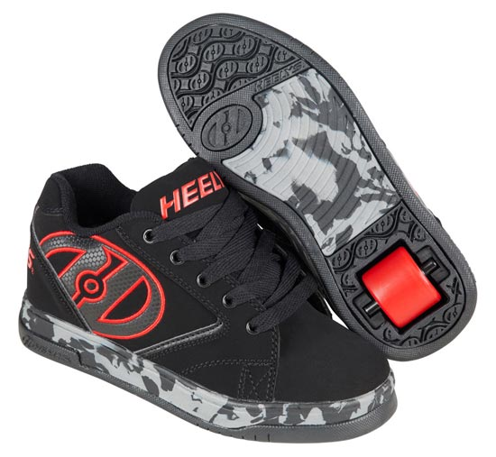 Heelys Propel 2.0 Black Red Confetti 1 Wheel Boys Shoe 770807