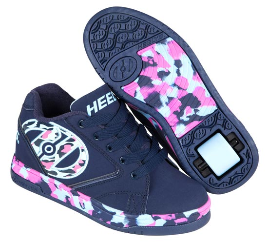 Heelys Propel 2.0 Navy Light Pink Blue Confetti 1 Wheel Girls Shoe 770811