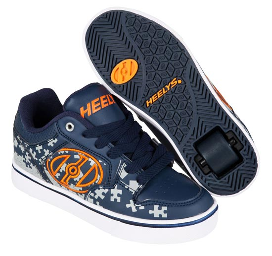 Heelys Motion Plus Navy Grey Orange 1 Wheel Boys Shoe 770816
