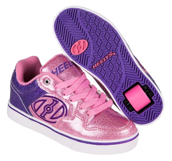 Heelys Motion Plus Purple Pink Glitter 1 Wheel Girls Shoe 770818