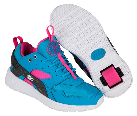 Heelys Force Aqua Grey Pink 1 Wheel Girls Shoe 770839
