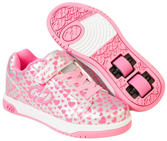 Heelys Dual Up Silver Hearts 2 Wheel Girls Shoe 778047