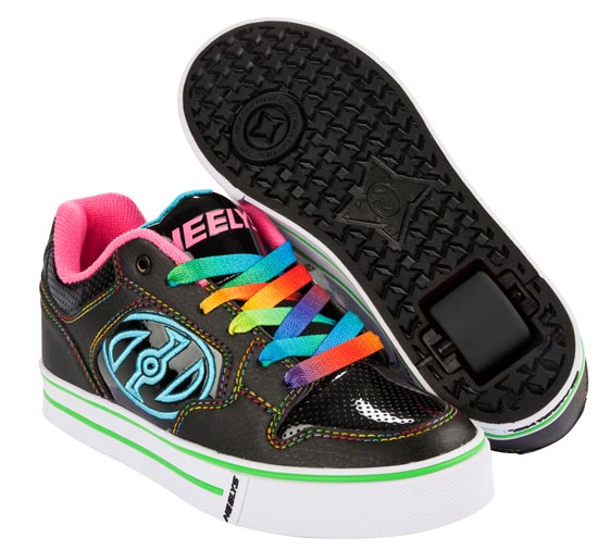 Heelys Motion Plus Black Hot Pink Rainbow 1 Wheel Girls Shoe 770539