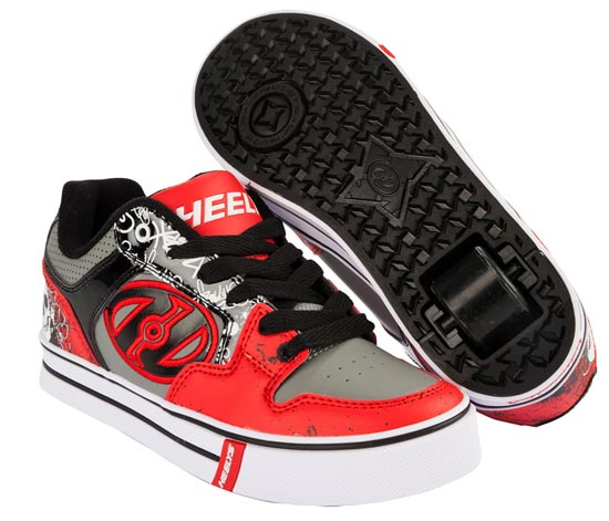 Heelys Motion Plus Red Black Grey Skulls 1 Wheel Boys Shoe 770533