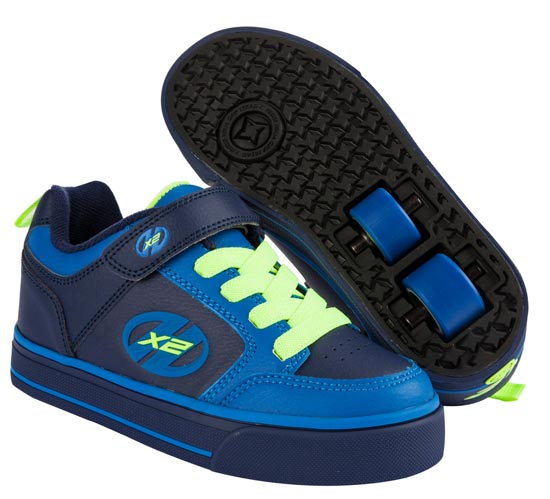 Heelys Thunder Navy Royal Blue Neon Yellow 2 Wheel Boys Shoe 770480