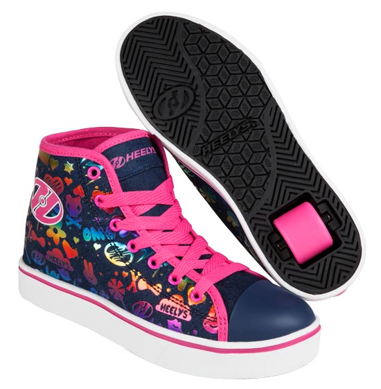 Heelys Veloz Dark Denim Rainbow 1 Wheel Girls Shoe 770827