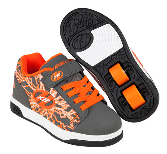 Heelys Spring Summer 2017 770948 Dual Up X2 Charcoal Orange Electricity