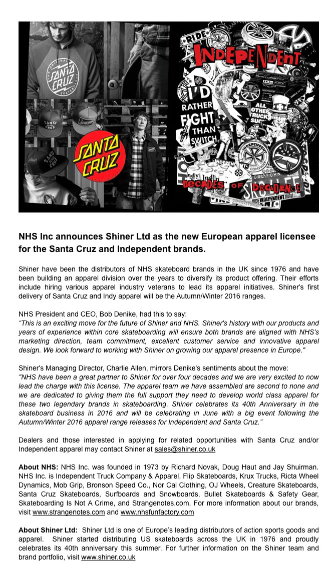 Shiner Press Release - Santa Cruz and Independent Softgoods European Licensee - Paul Merrell, Bob Denike, Charlie Allen