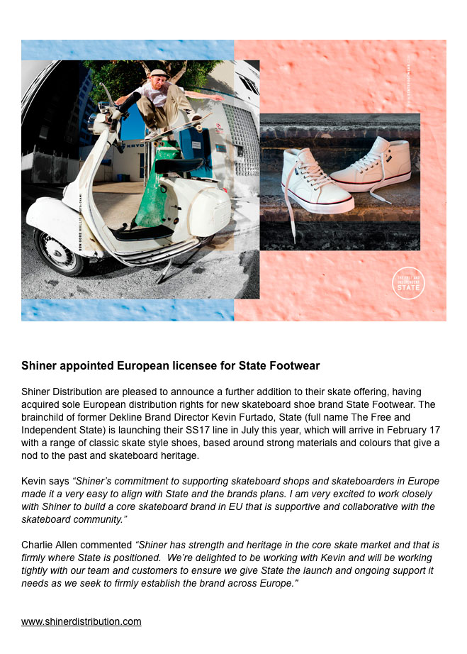 Shiner Press Release - State Footwear European Licensee - Charlie Allen and Kevin Furtado