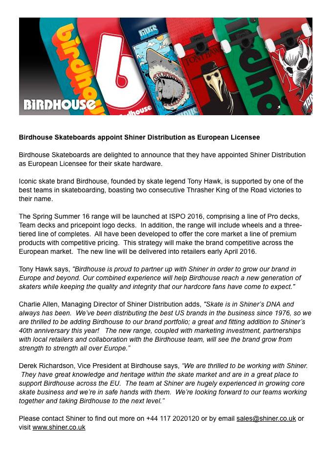 Shiner Press Release - Birdhouse European Licensee - Charlie Allen, Tony Hawk, Derek Richardson